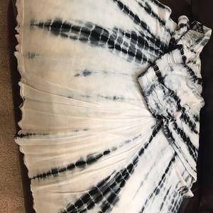 Maxi length tie-dye skirt.